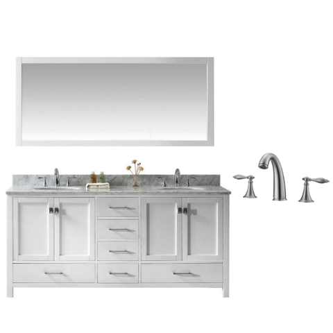 "Virtu Caroline Ave 72"" White Double Bathroom Vanity w/ White Top GD-50072 GD-50072-WMRO-WH-001"