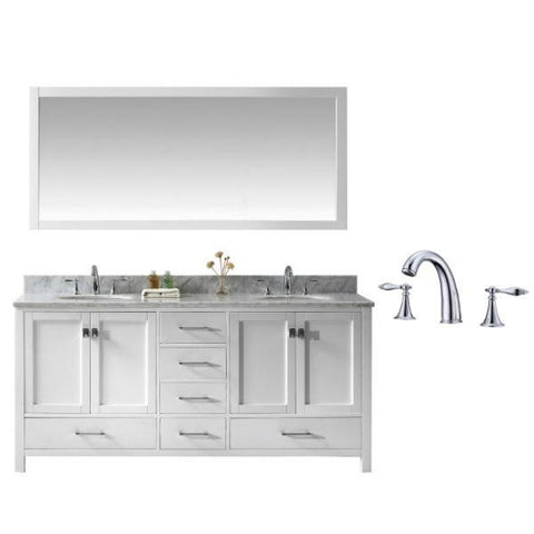 "Virtu Caroline Ave 72"" White Double Bathroom Vanity w/ White Top GD-50072 GD-50072-WMRO-WH-002"