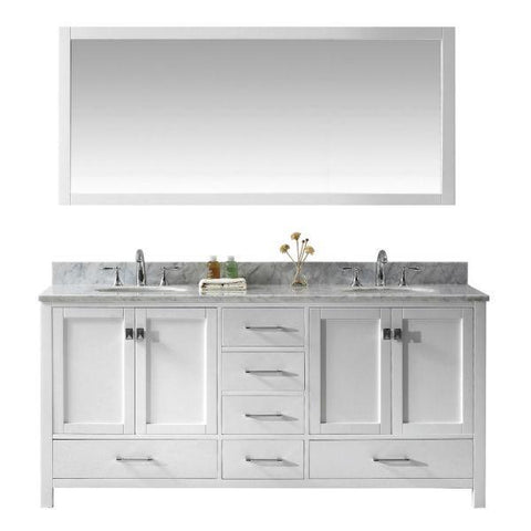"Virtu Caroline Ave 72"" White Double Bathroom Vanity w/ White Top GD-50072 GD-50072-WMRO-WH"