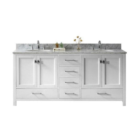 "Virtu Caroline Ave 72"" White Double Bathroom Vanity w/ White Top GD-50072 GD-50072-WMRO-WH-NM"