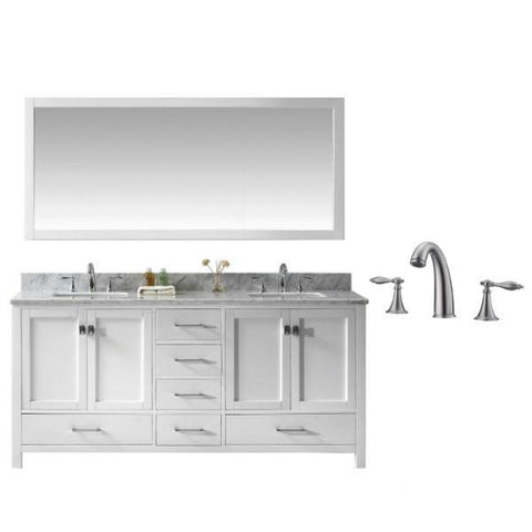 "Virtu Caroline Ave 72"" White Double Bathroom Vanity w/ White Top GD-50072 GD-50072-WMSQ-WH-001"