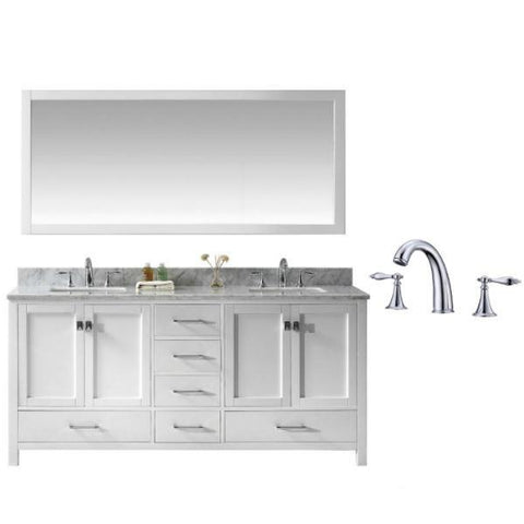 "Virtu Caroline Ave 72"" White Double Bathroom Vanity w/ White Top GD-50072 GD-50072-WMSQ-WH-002"