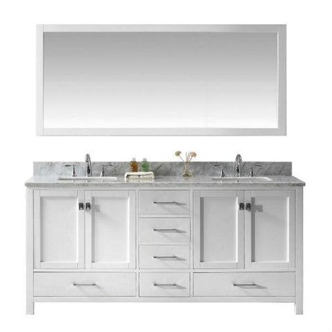 "Virtu Caroline Ave 72"" White Double Bathroom Vanity w/ White Top GD-50072 GD-50072-WMSQ-WH"