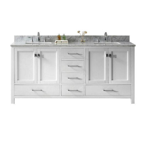 "Virtu Caroline Ave 72"" White Double Bathroom Vanity w/ White Top GD-50072 GD-50072-WMSQ-WH-NM"