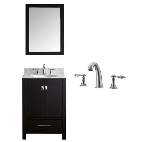 "Image of Virtu Caroline Avenue 24"" Espresso Single Bathroom Vanity w/ White Top GS-50024 GS-50024-WMRO-ES-001"