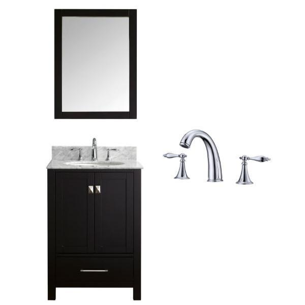 "Virtu Caroline Avenue 24"" Espresso Single Bathroom Vanity w/ White Top GS-50024 GS-50024-WMRO-ES-002"