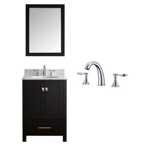 "Image of Virtu Caroline Avenue 24"" Espresso Single Bathroom Vanity w/ White Top GS-50024 GS-50024-WMRO-ES-002"
