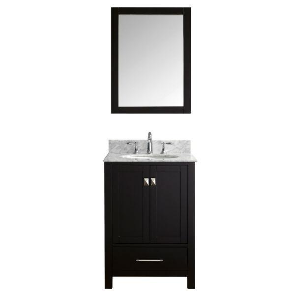 "Virtu Caroline Avenue 24"" Espresso Single Bathroom Vanity w/ White Top GS-50024 GS-50024-WMRO-ES"