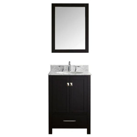 "Image of Virtu Caroline Avenue 24"" Espresso Single Bathroom Vanity w/ White Top GS-50024 GS-50024-WMRO-ES"