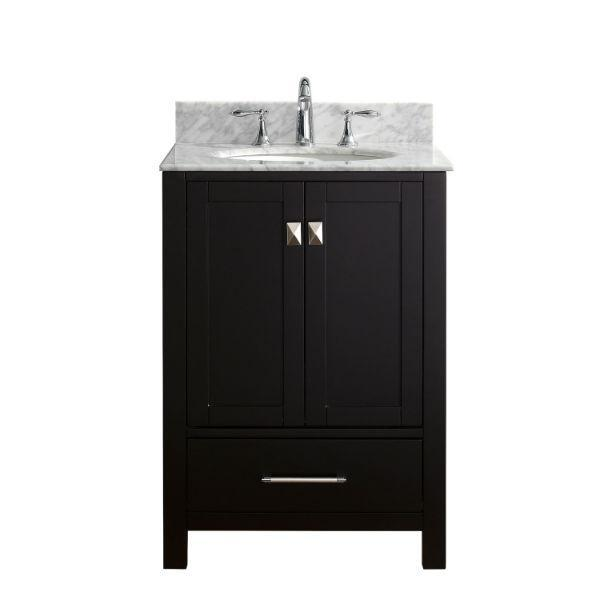 "Virtu Caroline Avenue 24"" Espresso Single Bathroom Vanity w/ White Top GS-50024 GS-50024-WMRO-ES-NM"