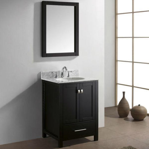 "Image of Virtu Caroline Avenue 24"" Espresso Single Bathroom Vanity w/ White Top GS-50024 GS-50024-WMRO-ES-NM"
