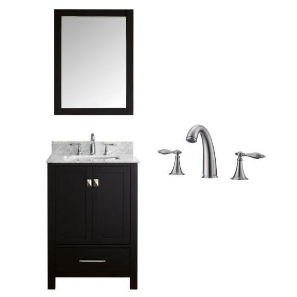 "Virtu Caroline Avenue 24"" Espresso Single Bathroom Vanity w/ White Top GS-50024 GS-50024-WMSQ-ES-001"