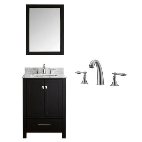 "Image of Virtu Caroline Avenue 24"" Espresso Single Bathroom Vanity w/ White Top GS-50024 GS-50024-WMSQ-ES-001"