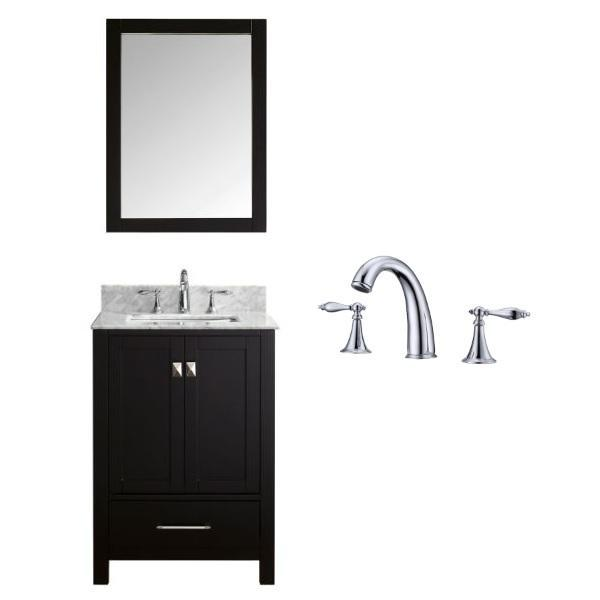 "Virtu Caroline Avenue 24"" Espresso Single Bathroom Vanity w/ White Top GS-50024 GS-50024-WMSQ-ES-002"
