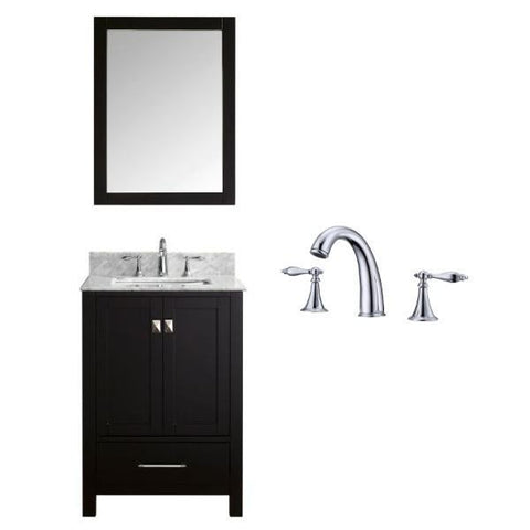 "Image of Virtu Caroline Avenue 24"" Espresso Single Bathroom Vanity w/ White Top GS-50024 GS-50024-WMSQ-ES-002"