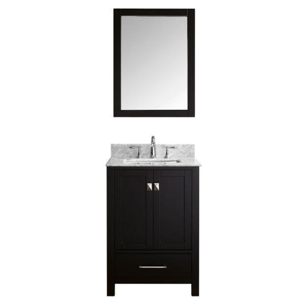 "Virtu Caroline Avenue 24"" Espresso Single Bathroom Vanity w/ White Top GS-50024 GS-50024-WMSQ-ES"