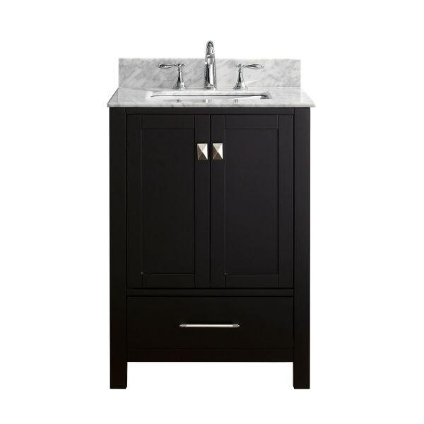 "Virtu Caroline Avenue 24"" Espresso Single Bathroom Vanity w/ White Top GS-50024 GS-50024-WMSQ-ES-NM"