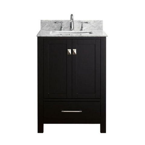 "Image of Virtu Caroline Avenue 24"" Espresso Single Bathroom Vanity w/ White Top GS-50024 GS-50024-WMSQ-ES-NM"