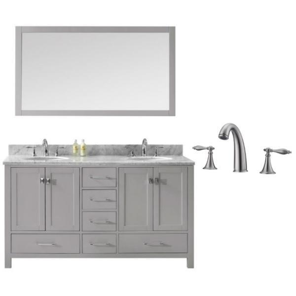 Virtu Caroline Avenue 60″ Cashmere Double Bathroom Vanity w/ White Top GD-50060 GD-50060-WMRO-CG-001
