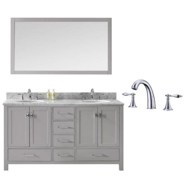Virtu Caroline Avenue 60″ Cashmere Double Bathroom Vanity w/ White Top GD-50060 GD-50060-WMRO-CG-002