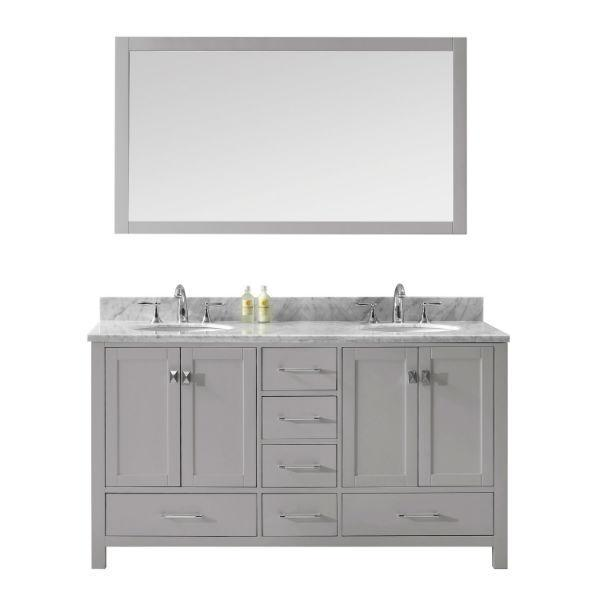Virtu Caroline Avenue 60″ Cashmere Double Bathroom Vanity w/ White Top GD-50060 GD-50060-WMRO-CG