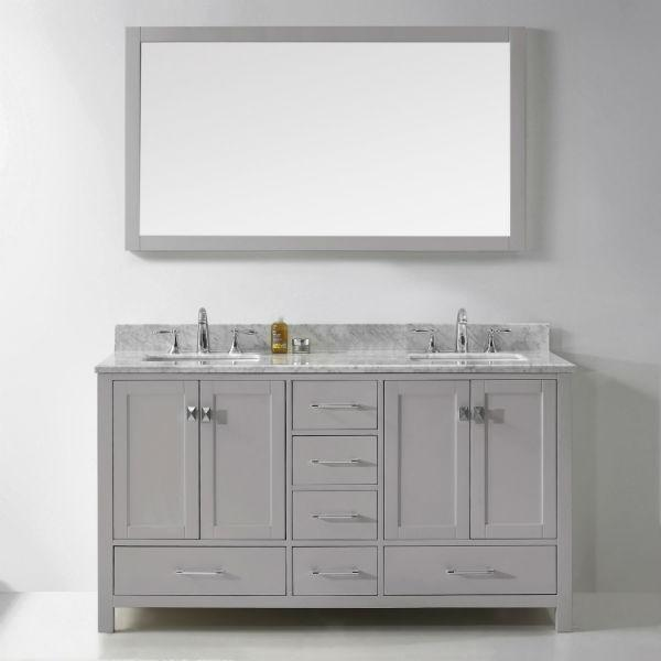 Virtu Caroline Avenue 60″ Cashmere Double Bathroom Vanity w/ White Top GD-50060 GD-50060-WMRO-CG-NM