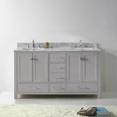 Image of Virtu Caroline Avenue 60″ Cashmere Double Bathroom Vanity w/ White Top GD-50060 GD-50060-WMRO-CG-NM