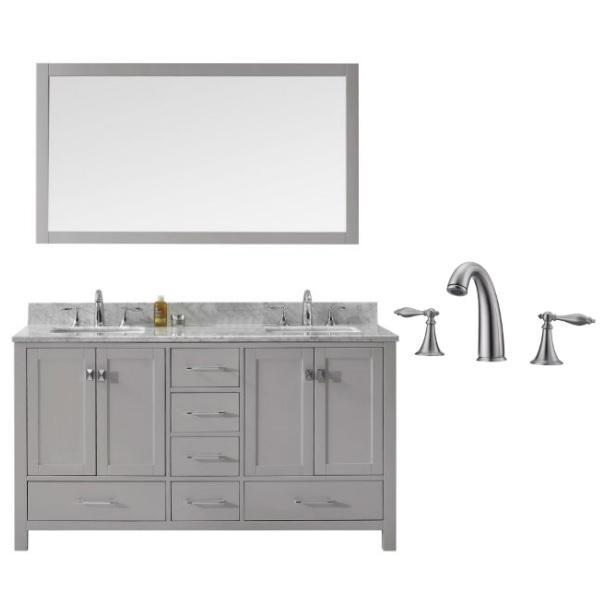 Virtu Caroline Avenue 60″ Cashmere Double Bathroom Vanity w/ White Top GD-50060 GD-50060-WMSQ-CG-001