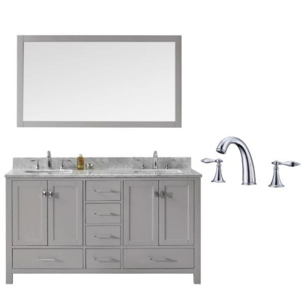 Virtu Caroline Avenue 60″ Cashmere Double Bathroom Vanity w/ White Top GD-50060 GD-50060-WMSQ-CG-002