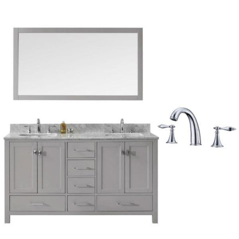 Image of Virtu Caroline Avenue 60″ Cashmere Double Bathroom Vanity w/ White Top GD-50060 GD-50060-WMSQ-CG-002