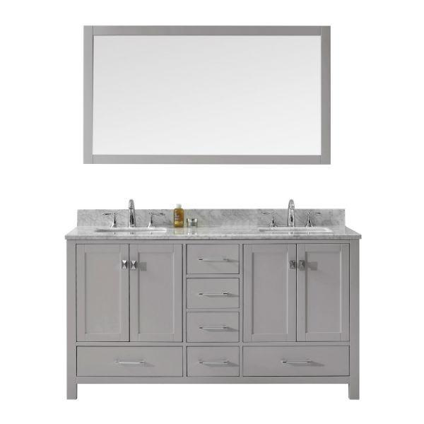 Virtu Caroline Avenue 60″ Cashmere Double Bathroom Vanity w/ White Top GD-50060 GD-50060-WMSQ-CG