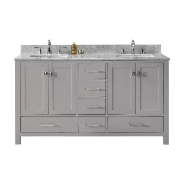 Virtu Caroline Avenue 60″ Cashmere Double Bathroom Vanity w/ White Top GD-50060 GD-50060-WMSQ-CG-NM