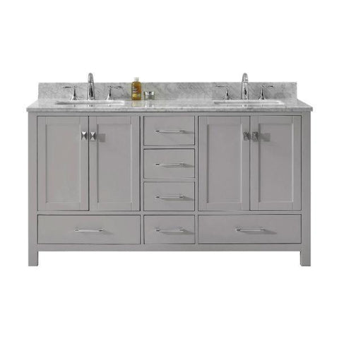 Image of Virtu Caroline Avenue 60″ Cashmere Double Bathroom Vanity w/ White Top GD-50060 GD-50060-WMSQ-CG-NM