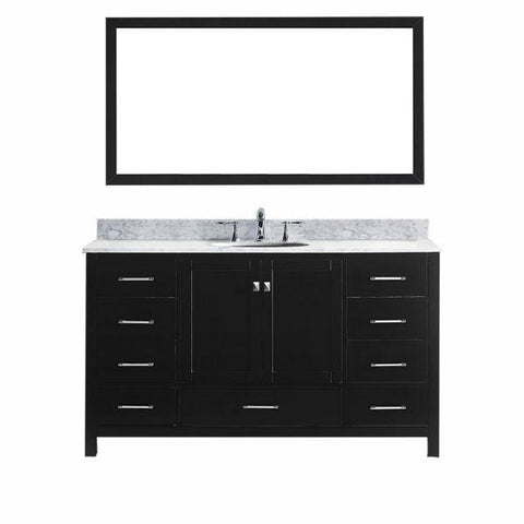 "Virtu Caroline Avenue 60"" Espresso Single Bathroom Vanity w/ White Top GS-50060 GS-50060-WMRO-ES"