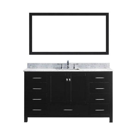 "Virtu Caroline Avenue 60"" Espresso Single Bathroom Vanity w/ White Top GS-50060 GS-50060-WMSQ-ES"