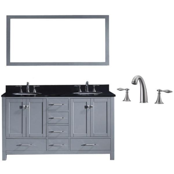 Virtu Caroline Avenue 60″ Grey Double Bathroom Vanity w/ Black Top GD-50060 GD-50060-BGRO-GR-001