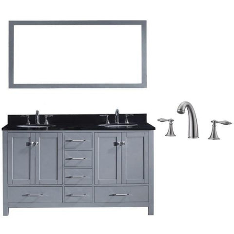 Image of Virtu Caroline Avenue 60″ Grey Double Bathroom Vanity w/ Black Top GD-50060 GD-50060-BGRO-GR-001