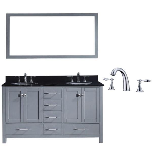 Virtu Caroline Avenue 60″ Grey Double Bathroom Vanity w/ Black Top GD-50060 GD-50060-BGRO-GR-002