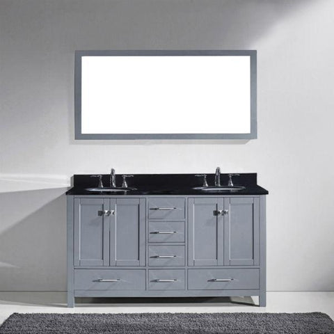 Image of Virtu Caroline Avenue 60″ Grey Double Bathroom Vanity w/ Black Top GD-50060 GD-50060-BGRO-GR