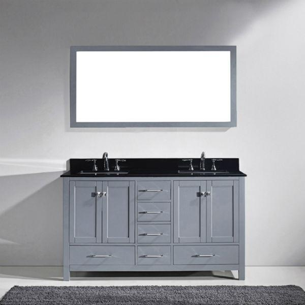 Virtu Caroline Avenue 60″ Grey Double Bathroom Vanity w/ Black Top GD-50060 GD-50060-BGRO-GR