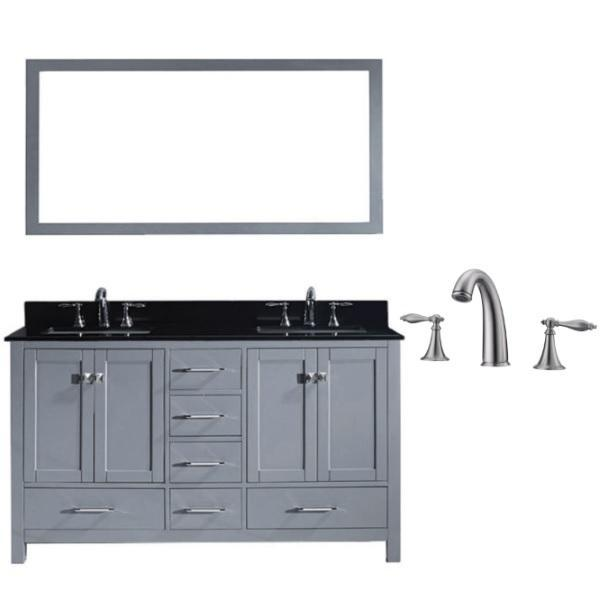 Virtu Caroline Avenue 60″ Grey Double Bathroom Vanity w/ Black Top GD-50060 GD-50060-BGSQ-GR-001