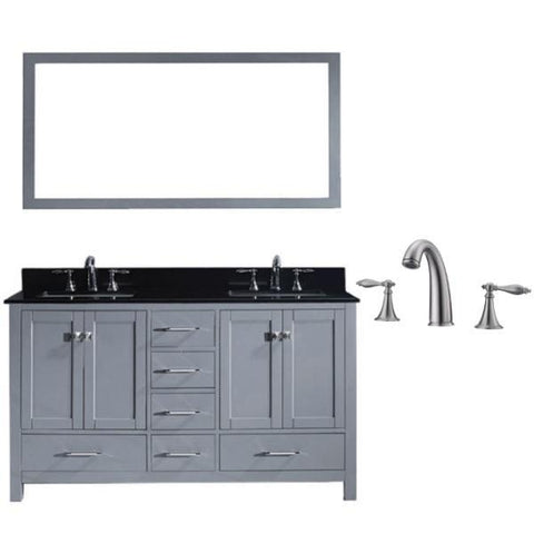 Image of Virtu Caroline Avenue 60″ Grey Double Bathroom Vanity w/ Black Top GD-50060 GD-50060-BGSQ-GR-001