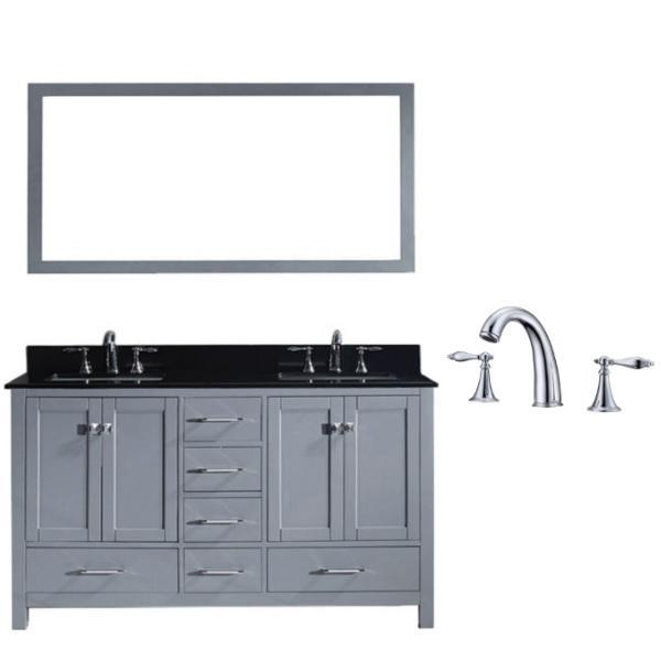 Virtu Caroline Avenue 60″ Grey Double Bathroom Vanity w/ Black Top GD-50060 GD-50060-BGSQ-GR-002