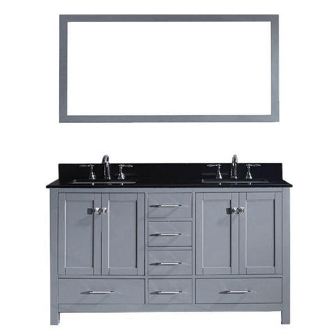 Image of Virtu Caroline Avenue 60″ Grey Double Bathroom Vanity w/ Black Top GD-50060 GD-50060-BGSQ-GR