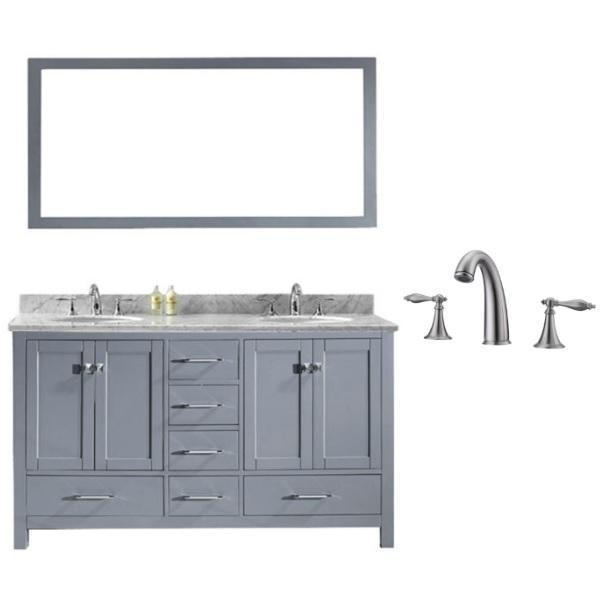 Virtu Caroline Avenue 60″ Grey Double Bathroom Vanity w/ White Top GD-50060 GD-50060-WMRO-GR-001