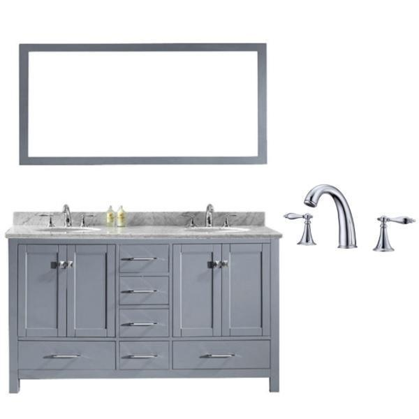 Virtu Caroline Avenue 60″ Grey Double Bathroom Vanity w/ White Top GD-50060 GD-50060-WMRO-GR-002