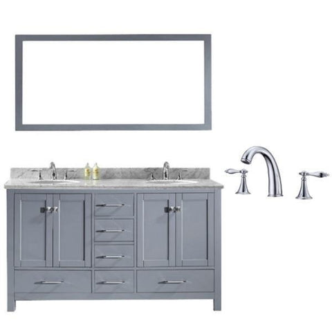 Image of Virtu Caroline Avenue 60″ Grey Double Bathroom Vanity w/ White Top GD-50060 GD-50060-WMRO-GR-002