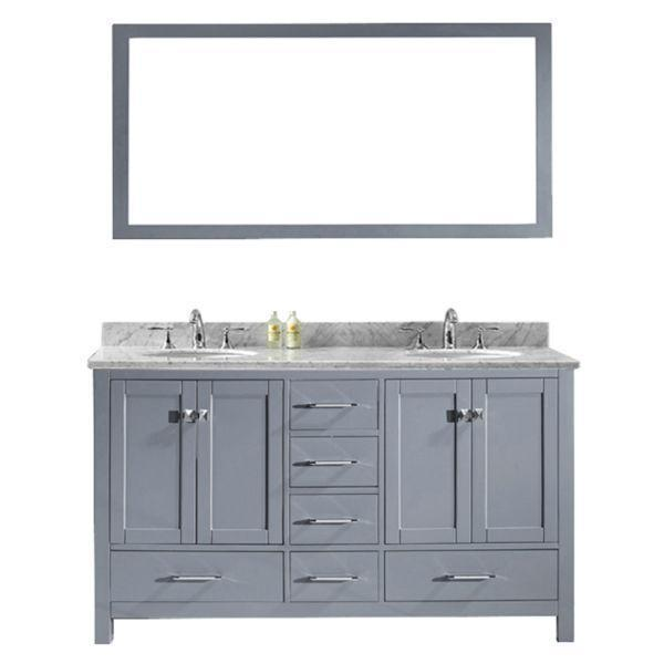 Virtu Caroline Avenue 60″ Grey Double Bathroom Vanity w/ White Top GD-50060 GD-50060-WMRO-GR