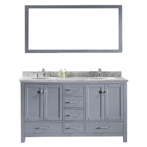 Image of Virtu Caroline Avenue 60″ Grey Double Bathroom Vanity w/ White Top GD-50060 GD-50060-WMRO-GR