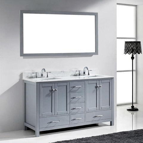 Image of Virtu Caroline Avenue 60″ Grey Double Bathroom Vanity w/ White Top GD-50060 GD-50060-WMRO-GR-NM